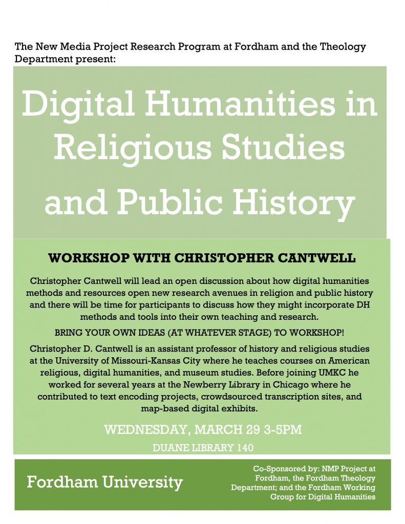 DISCUSSION AND WORKSHOP ON DIGITAL HUMANITIES IN RELIGIOUS STUDIES AND PUBLIC HISTORY